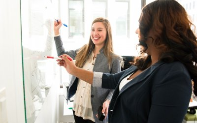 women employees smiling at employee engagement scores increase